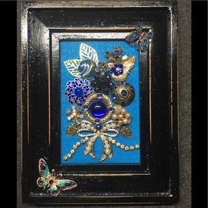 """FRAMED JEWELRY ART COLLAGE """"BUTTERFLIES GALORE"""""""